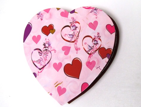 Half a Pound Pink With Hearts heart Shaped Box