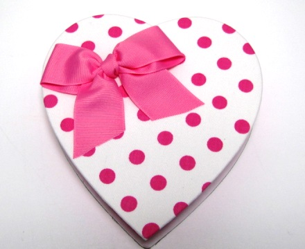 One Pound White Polka Dot Heart Shaped Box