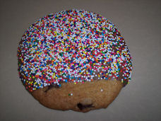 Chocolate Covered Chocolate Chip Cookies With Colored Sprinkled